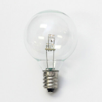 Box of 25 LED Clear Fancy Round Light Globes - Warm White