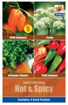Hot & Spicy Collection Seed Coriander Cilantro Chilli Habanero Cumin 4 in 1 Pack