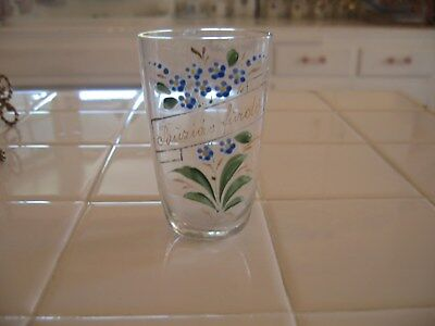 Pretty Vintage Clear Glass Vase With Hand Painted HP Forget Me Nots