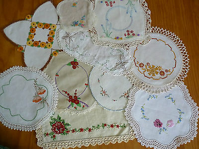 LOT of 10 ASSORTED Vintage Small & Sandwich Doilies Hand Embroidered #2