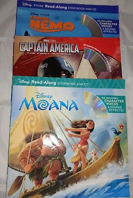 Lot Of 3 New Read-Along Books With CD Captain Marvel Disney Moana Finding Nemo