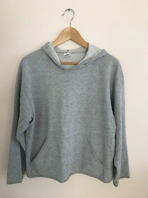 Hot Cotton Light Heather Gray Minimal Hoodie M Medium Made in USA Pocket 90s 80s