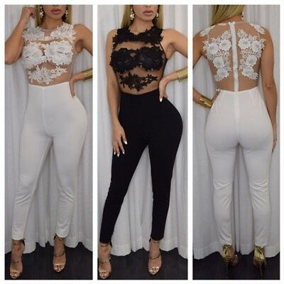 UK Womens Lace Sheer Jumpsuit Ladies Sexy Evening Party Playsuit Long Romper