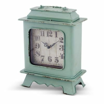 Turquoise Metal French Style Numerals Vintage Desk Clock w Handle