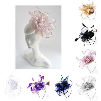 Ladies Feather Net Hat Head Band Fascinator Wedding Day Race Royal Ascot