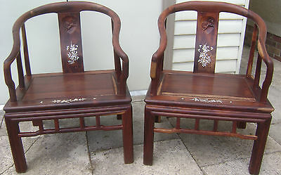 Attractive Pair Chinese Rosewood Horseshoe Armchair Elbow Chair