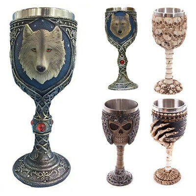 For Halloween Wine Cup Stainless Steel 3D Goblet Resin Horror Skull Creative Y