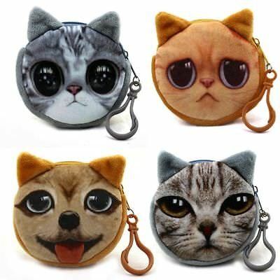 3D Animal Face Purse Key Chain For Girls Ladies Gift Money Bags Coin Purses