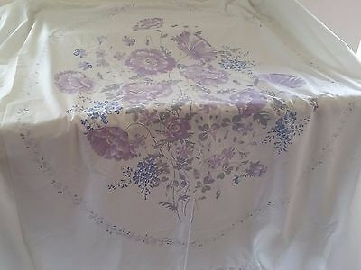 Vintage PURPLE BLUE IVORY Floral Panel COTTON Double BEDSPREAD FABRIC TO SEW
