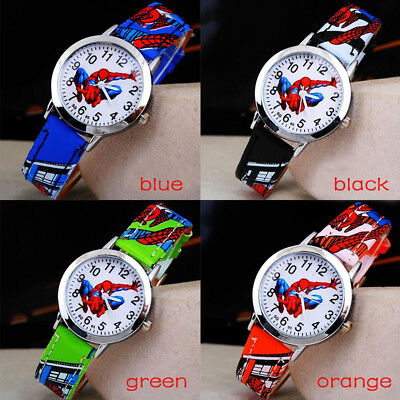Spiderman Children's Watch Cartoon Casual Leather Watches For Kids Boys Girls