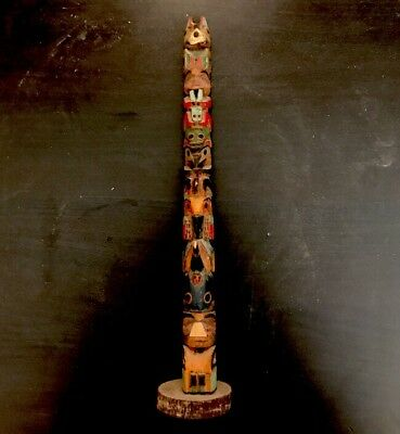 Tsimshian Native American Indian Carved Model Totem Pole Northwest Kwakiutl 11""
