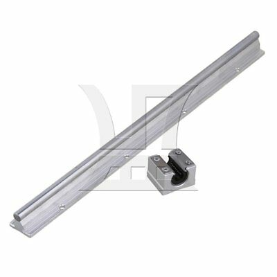 2pcs 10mm Shaft 40cm Linear Bearing Rail w/ Open Linear Slide Block Silver