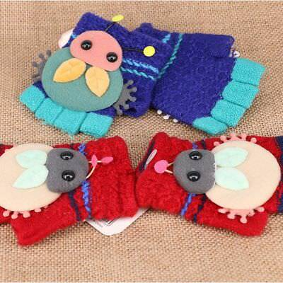 Lovely Kids Winter Warm Thicken Cartoon Knit Gloves Half-finger Boys Girls