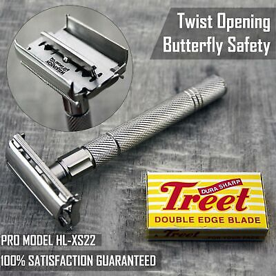 Stainless Steel Butterfly DE Shaving Safety Razor with 5 Blades Pack