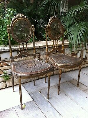 19th CENTURY ANTIQUE LOUIS CANE CHAIRS ORIGINAL PATINA.