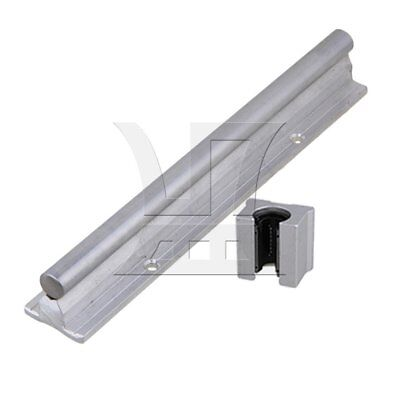 20cm Linear Bearing Support Rail w/ Open Linear Bearing Slide Set of 2 Silver