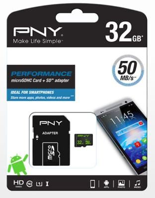 PNY 32GB Class 10 UHS-I  micro SD SDHC memory card HD High Speed and Adapter