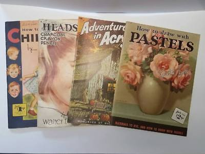 Lot of 4 Vintage Walter T. Foster Art Books Drawing and Painting
