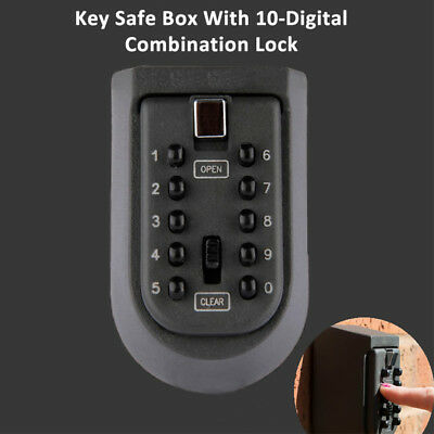 Outdoor Key Safe Box Case Wall Mounted 10 Digits Combination Hide Lock Storage