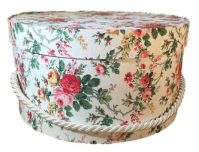 Large Hat Box in Red and Pink Rose, Round Box, Storage Box, Fabric Covered Boxes