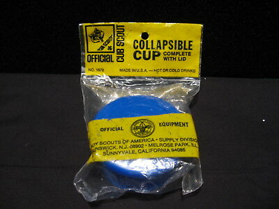 Vintage Official BSA Boy/Cub Scout Camping BLUE Collapsible Plastic Drink Cup