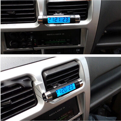Car Van Digital Clock Temperature Meter Thermometer LCD Blue Display UK