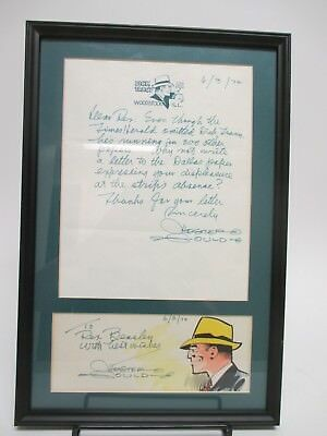 SIGNED Chester Gould AUTOGRAPHED Framed Vintage Letter / Dick Tracy Comic 1972