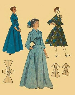 """Vintage 1950's Sewing Pattern Housecoat Robe Dressing Gown Bust 32"""""""