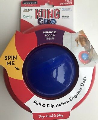Kong Gyro Large Interactive Dog Treat Dispensing Roll Flip & Spin Ball Toy New