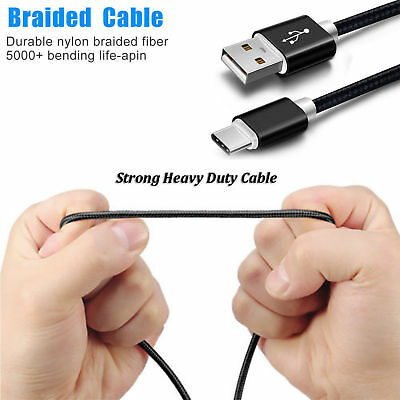 6FT Braided USB Type-C Data Charger Cable For LG G5 V20 ZTE Grand X Max 2 Note 8
