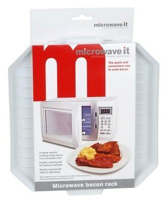 Microwave It Bacon Crisper Cooker Tray Ribbed  Polypropolene Plastic White