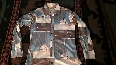 Vintage Geeky astronomy themed disco button up shirt Medium mens
