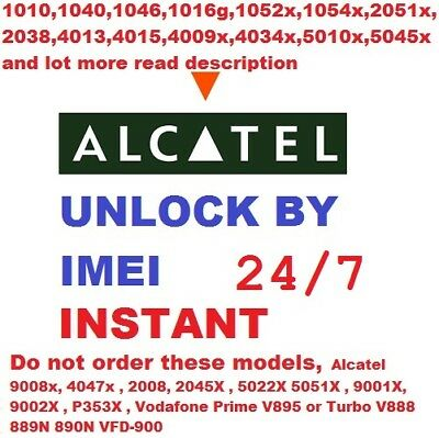 "Unlock code Alcatel OneTouch 5045 5045X Pixi 4 5"" Network Unlocking Pin Fast"