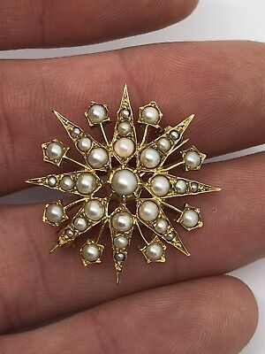 Vintage Victorian Style 375 9ct Yellow Gold Split Pearl Sunburst Pendant Brooch