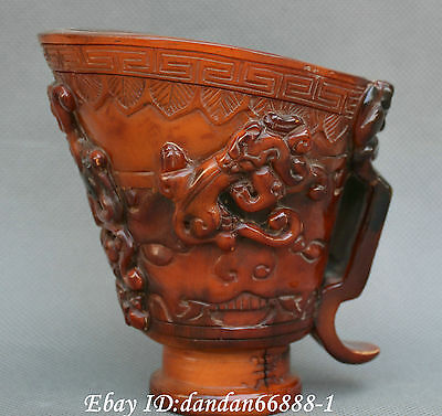 Collect Chinese old ox horn cup Carving brave troops Cup Cups auspicious statue