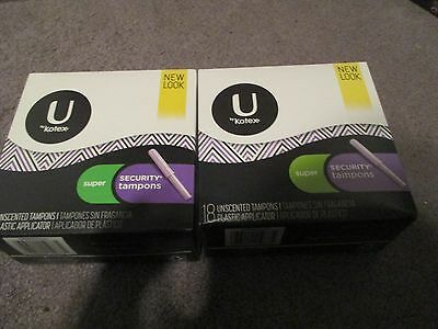 Lot Of 2 U By Kotex Super Security Tampons 18 Unscented In Each Pack