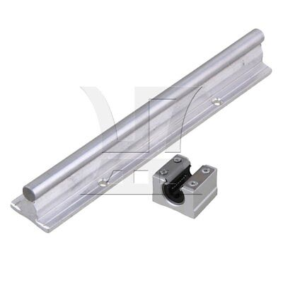 2x SBR10 Linear Bearing Guide Rail 20cm w/ Open Linear Bearing Slide Silver