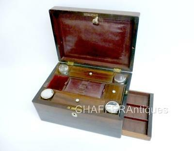 Victorian Vanity Travel Set ROSEWOOD & Mother of Pearl,with contents Brighton