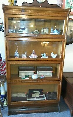 "ANTIQUE WEIS 4 STACK OAK BARRISTER BOOKCASE 63""(H) x  34""(L) x  12""(D)"