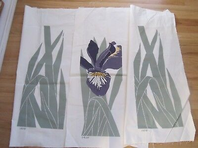 Vintage Marushka Canvas FLORAL IRIS & LEAVES 3 PIECE Unframed New