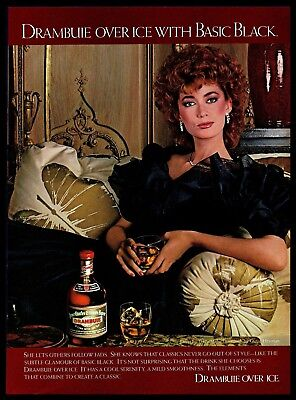 1982 Drambuie Over Ice Scotch Vintage PRINT AD Whisky Tracy Mills Dress 1980s