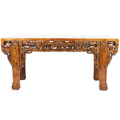 "Massive Intricately Carved Antique Chinese Altar Table 101"" Long 25"" deep 48"" T"