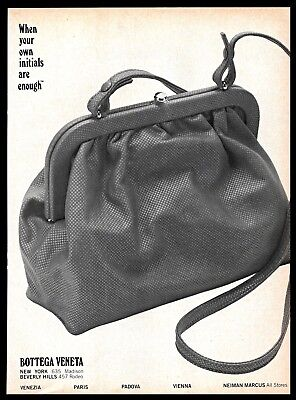 1982 Bottega Veneta Italian Leather Handbags Bags Vintage PRINT AD 1980s  B&W