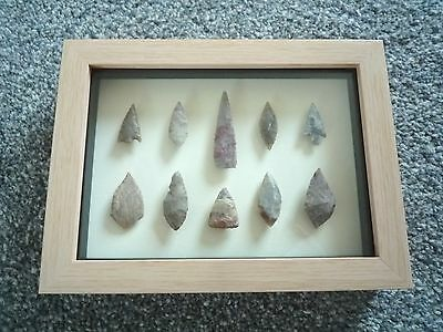 Neolithic Arrowheads in 3D Picture Frame, Authentic Artifacts 4000BC (0795)