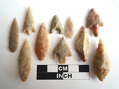 Neolithic Arrowheads x 10, High Quality Selection of Styles - 4000BC - (1082)