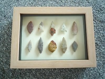 Neolithic Arrowheads in 3D Picture Frame, Authentic Artifacts 4000BC (0790)