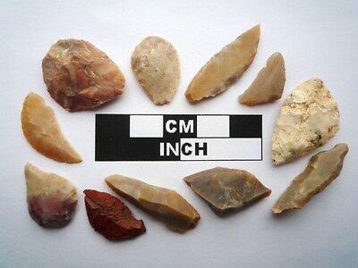11 x Neolithic Tools  Scrapers, Saharan Flint Artifacts- 4000BC (0916)