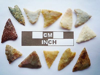 Neolithic Arrowheads, 12 x Triangle Artifacts - 4000BC - (Q145)