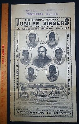 RARE Original Broadside 1882 Norfolk VA Jubilee Singers Genuine Slave Band Black