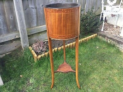 Edwardian Mahogany Planter with Inlay and Metal Liner